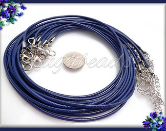 10 Dark Blue Necklace Cords - Finished Blue Cord Necklaces