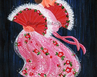 Original Traditional Korean Fan Dance Painting