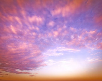 wall decor, yoga art, yoga print, clouds, sunrise clouds, pink sky, surreal sky, photography, ocean art, surfer decor, gift for her, him