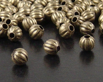 Bead Spacer 100 Antique Bronze Round Corrugated 4mm NF (1032spa04z1)xz