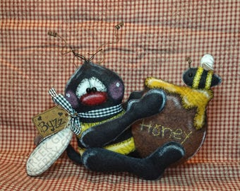 All Buzzed About Honey Pattern #261 - Primitive Doll Pattern - Summer - Bumble Bee - Honey Pot - Shelf Sitter