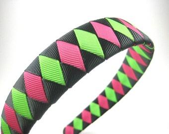Black Pink Green Headband - Halloween Headband - Ribbon Woven Headband - Braided Headband - Child Teenager Adult Headband