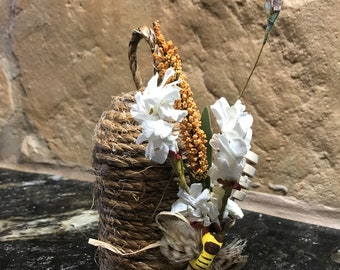 Bee Skep / Farmhouse Decor/ French Country Decor/ Primitive Bee Hive/ Housewarming Gift / Honey Bees/ Floral