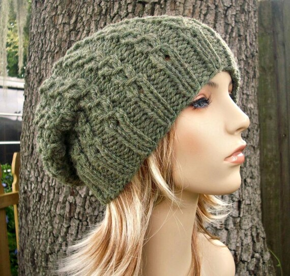 Knit Hat Womens Hat Slouchy Beanie Eyelet Cable Slouchy Hat