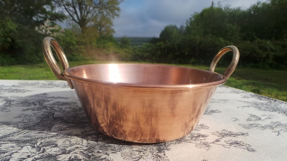 Small Jam Pan Jelly Pan French Vintage Copper Apple Butter Jelly Preserve Pot Normandy Kitchen Copper 'Casserole' Cast Bronze Handle
