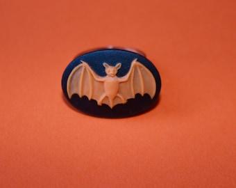 Orange Halloween Bat Medium Cameo Ring