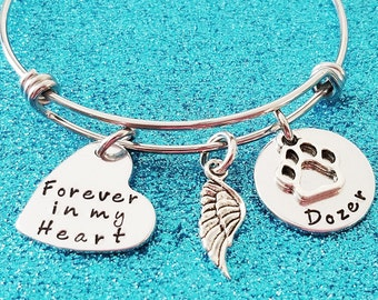 Pet Memorial Jewelry, Pet Loss Gift, Personalized pet name, Pet memorial bracelet, Pet Remembrance, Memory of dog Jewelry, In Memory of Pet