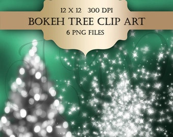 Bokeh Christmas Tree Digital Clip Art  - bokeh lights christmas tree holiday season digital christmas clipart