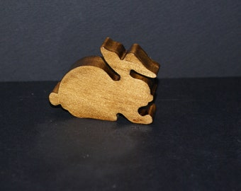 Miniature Wooden Rabbit Bunny Country Kitchen Shelf Sitter