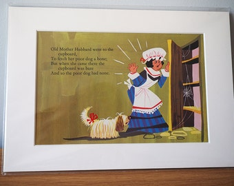Vintage Nursery art - Nursery Rhyme - Mother Hubbard - original children's book print - illustration - 1970s