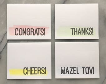 Thanks, Cheers, Congrats and Mazel Tov Letterpress and Watercolor Celebration Cards, set of four cards with envelopes
