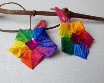 Clips clip kanzashi duo pink fuschia and multicolor Ribbon