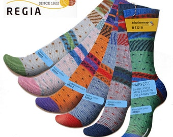 Regia Sock Yarn  Pairfect 100g  3.5 oz Design Line by Arne & Carlos. A new dimension in sock knitting. Two identical socks from 1 skein
