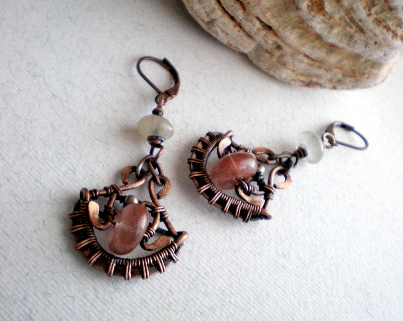 Powder pink gemstone earrings Handmade copper wire earrings