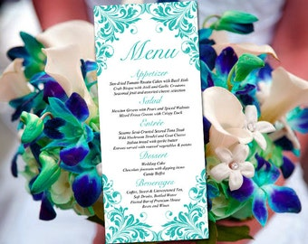 "Printable Wedding Menu Card Template - Teal Menu Wedding Reception Menu ""Maggie"" Tea Length Menu Printable - DIY Menu Template Entree Card"