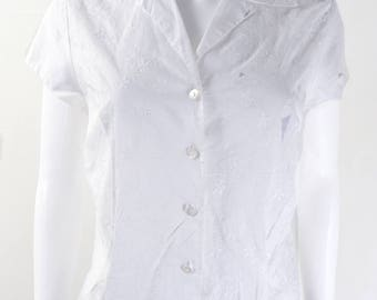 Original 1950s Vintage White St Michael Embroidered Blouse UK Size 12/14