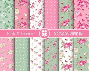 Rose Digital Paper, Pink Green Floral Digital Paper Pack, Pink Roses, Scrapbooking, Roses, Pink Vintage Roses - INSTANT DOWNLOAD  - 1893