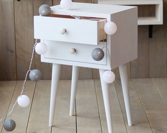 White Nightstand | Side Table | End table | Mid-Century modern table | Scandinavian style | Table with drawers | Bedside table NO-04-ERW