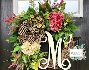 Fall Door Wreaths, Summer Wreath for Front Door, Monogram Wreaths, Burlap Wreath, Fall Door Wreaths, Front Door Wreaths, Autumn Wreaths