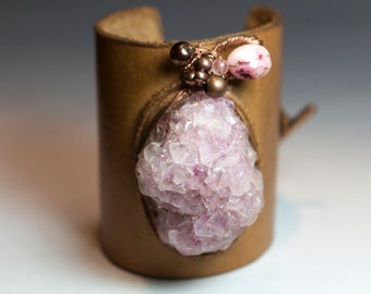 Leather Cuff Bracelet with Copper and Rose Quartz