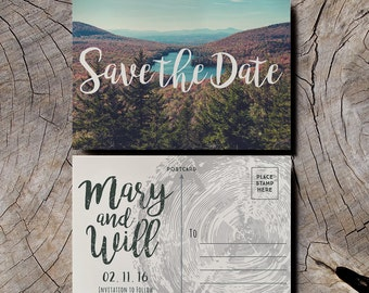 Retro Camping Save the Date Wedding Invitations, vintage postcard save the date, forest save the date, mountain save the date 1970s postcard