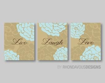 Live Laugh Love Wall Art - Live Laugh Love Decor - Bathroom Art - Home Decor - Bedroom Art - Aqua Stone Camel - You Pick the Size (NS-204)