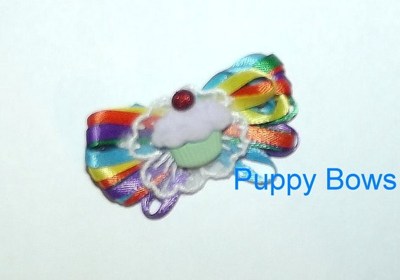 Puppy Bows ~  Rainbow cupcake loopy birthday dog bow multi loop latex bands or barrette  (fb12)