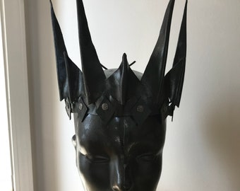 Black Evil Queen handmade leather crown