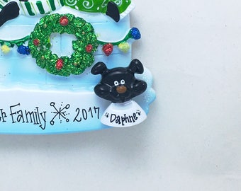 "Dog Face ""Add On"" Ornament / Available in Black, Tan-Yellow, or Brown / Add Your Dog to Your Family Ornament / Hand Personalized"