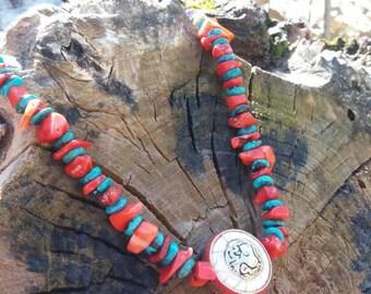 necklace of pieces of natural coral.turquoise Tibetan.elegant, bohemian.macrame.boho.stone.free woman.amethyst.Tibetan revolving piece.full