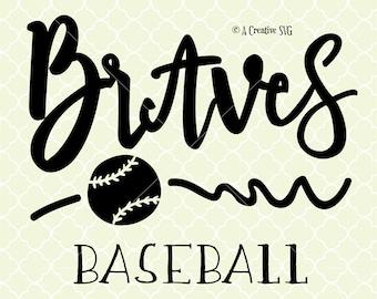 Braves Baseball SVG DXF Files for Cricut Design, Silhouette studio.