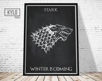 Game of Thrones Print, Game of Thrones, Winter is Coming, Jon Snow, Instant Download, Game of Thrones Fan, Movie Poster, Wall Art, Gift