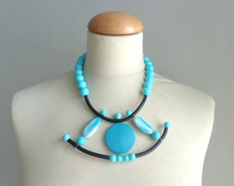 Turquoise necklace, blue statement, blue  rubber necklace, geometric statement necklace