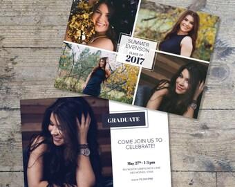 Senior Graduation Announcement Template Grad Invite Printable Graduation Photo Card Graduation Party Invitations Photo Collage Girl or Boy