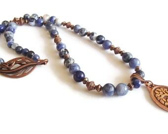 Sodalite and Copper Set. Sodalite Necklace. Sodalite Earrings. Denim Blue. Bird in Tree Pendant. Copper N6