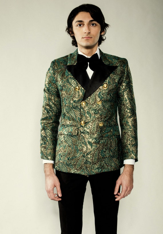Mens Green & Gold Double Breasted Floral Print Tuxedo Blazer