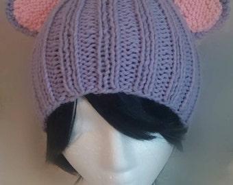 Pastel Lavender Bear Hat