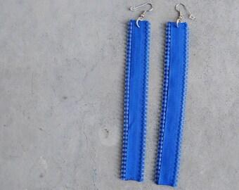 blue zipper earrings