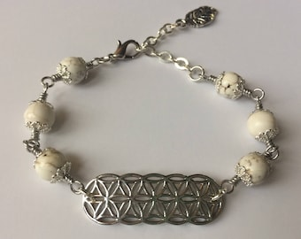 White & Silver Seed Of Life Beaded Bracelet