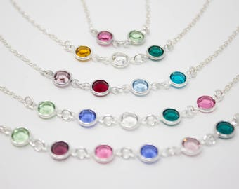 Grandmother Necklace, Grandmother's Birthstone Necklace, Crystal Birthstone Necklace, Choose your Colors