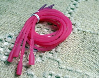 4pcs Silicone Necklace Cord Snap Closures Transparent Hot Pink 16in Or 18in 2mm Rubber Necklaces