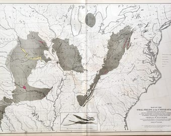 Original 1874 Statistical Atlas of the United States based on the 9th census from 1870 showing Coal Fields Alluvium