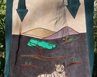Suede Tote Bag Purse with Tiger Applique Upcycled Reclaimed Recycled Rescued