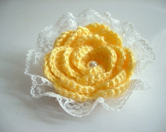 Yellow Rose Brooch, Hand Crochet Flower Brooch with Lace