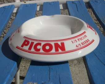 Ashtray PICON 50's 1950 1960 bar tobacco advertising beer wine Bistro ceramic french retro old 50-60 VINTAGE Fifties years