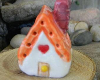 Ceramic Litte Clay  House Miniature  Glazed Pottery  ..terrarium  Fairy Garden Home - Orange roof