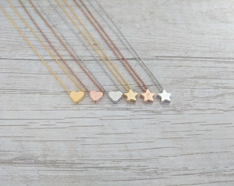 16k Gold Dainty Initial Necklace // Gold + Rose Gold + White Gold/Silver Necklace + Best Friend Gift + Friendship Necklace + Heart + Star