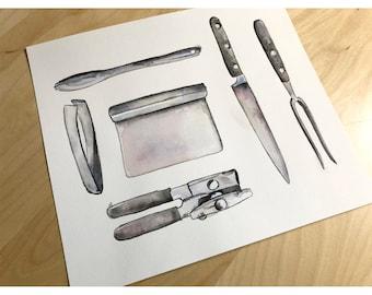 Original Watercolor - Mixed Metal Kitchen Utensils
