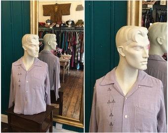 "1950s Purple Loop Collar Shirt 48"" Large Cotton Rockabilly"