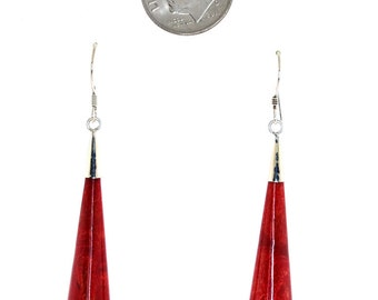 Hand Crafted Sterling Silver Red Coral Drop Earrings